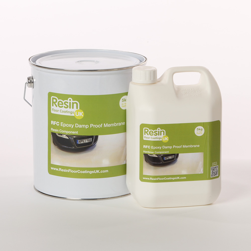 A tin and tub of RFC liquid epoxy damp proof membrane