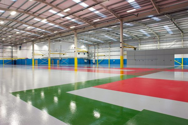 Warehouse project with areas of different colour