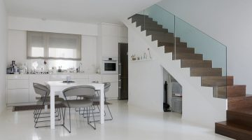 Modern kitchen withn a white epoxy floor