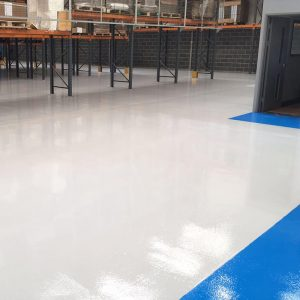 RFC Concrete Floor Paint in light grey used in warehouse